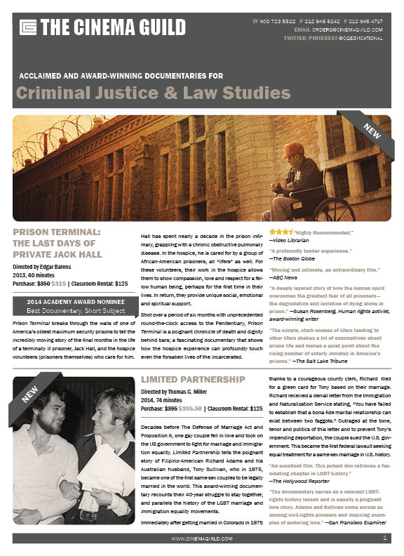 Cinema Guild criminal justice and law studies brochure